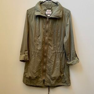 Mossimo   Army Green Long Jacket with Hidden Hood